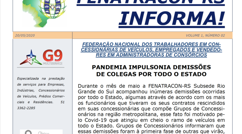 FENATRACON-RS Informa – Maio/2020